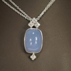 14KW Gold Genuine Blue Moonstone & Diamond Pendant